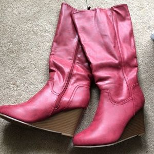 NWOT Journee Collection Red Heeled Boots